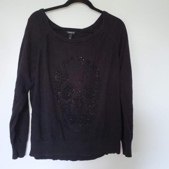 torrid Tops - 2/$20 torrid black rhinestone skull sweater top